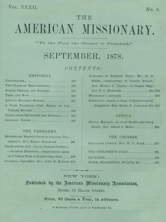 The American Missionary — Volume 32, No. 9, September, 1878