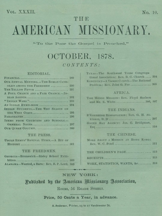 The American Missionary — Volume 32, No. 10, October, 1878