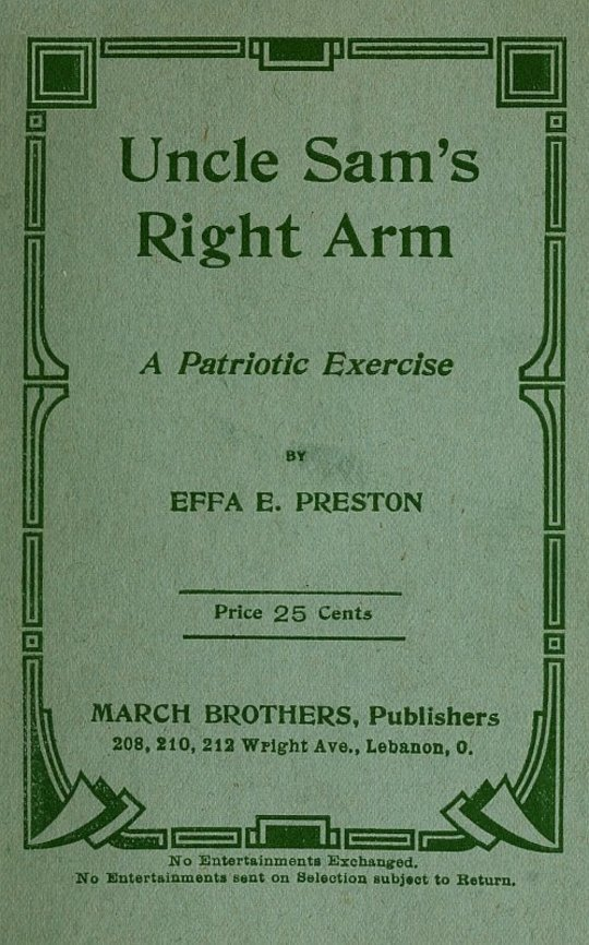 Uncle Sam's Right Arm A Patriotic Exercise