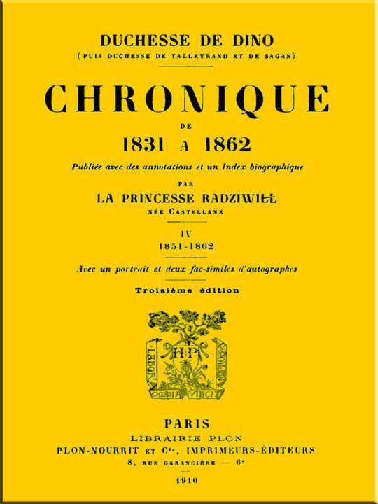 Chronique de 1831 à 1862, Tome 4 (de 4)