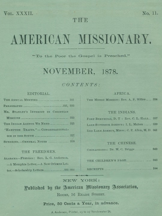 The American Missionary — Volume 32, No. 11, November, 1878