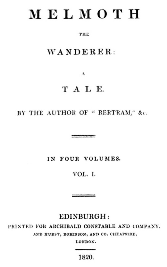 Melmoth the Wanderer Vol. 1 (of 4)