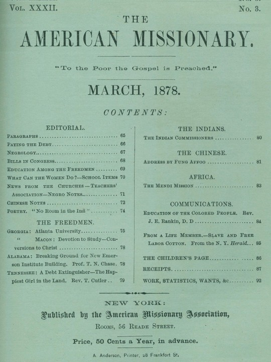 The American Missionary — Volume 32, No. 03, March, 1878