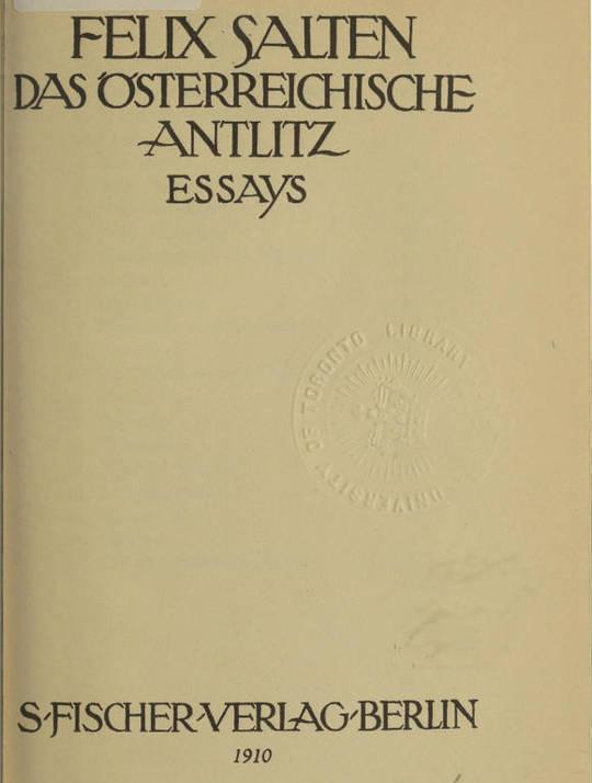 Das österreichische Antlitz Essays