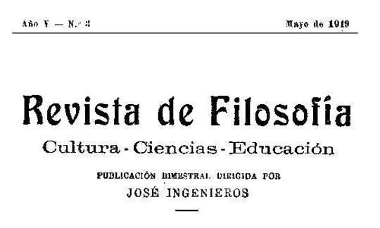 Revista de Filosofía, Año V - Nº 3 - May/1919 Cultura—Ciencias—Educación