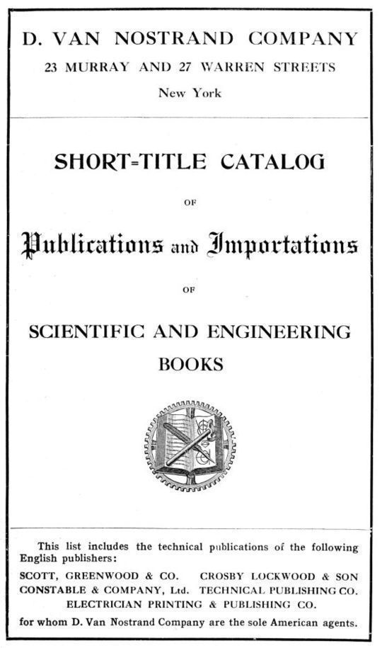 Short-Title Catalog of Publications and Importations of Scientific and Engineering Books (August 1910)