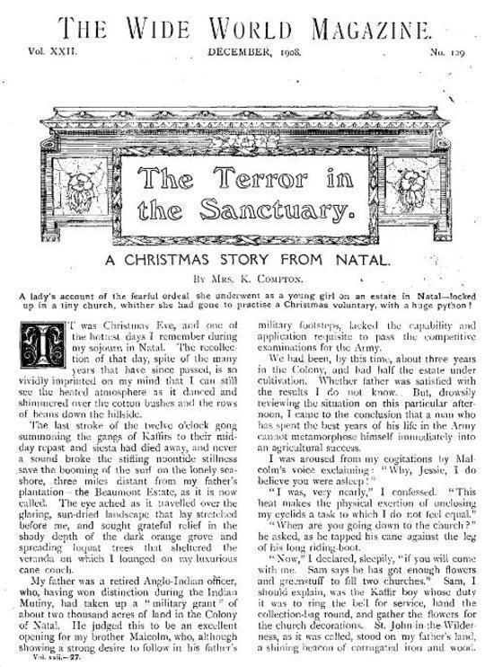 Wide World Magazine, Vol. 22, No. 129, December, 1908