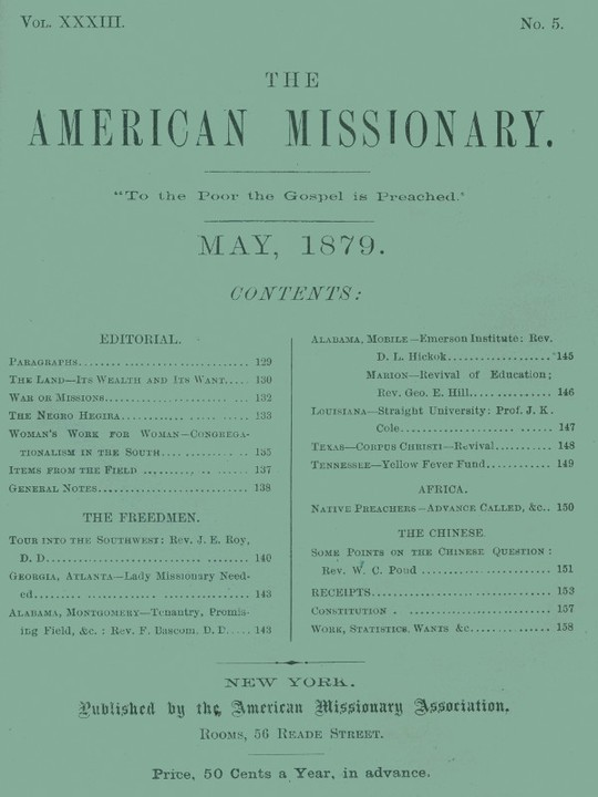 The American Missionary — Volume 33, No. 5, May, 1879
