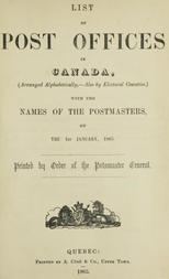 List of Post Offices in Canada 1865