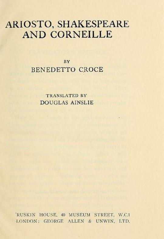 Ariosto, Shakespeare, Corneille