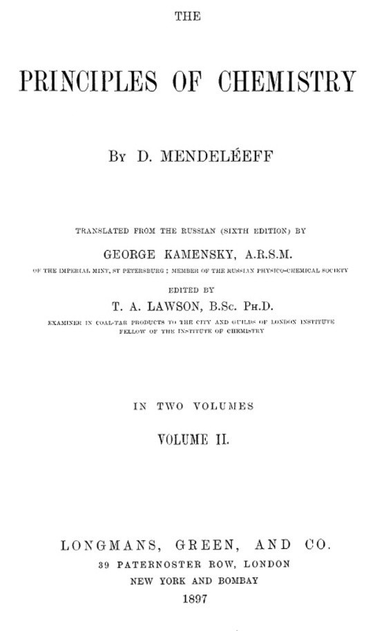 The Principles of Chemistry. Volume II (of 2)