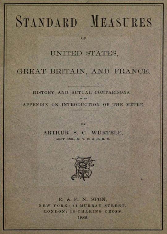 Standard Measures of United States, Great Britain and France History and actual comparisons with appendix on introduction of the mètre