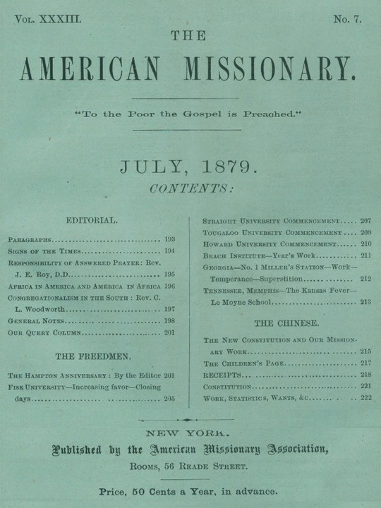 The American Missionary — Volume 33, No. 7, July, 1879