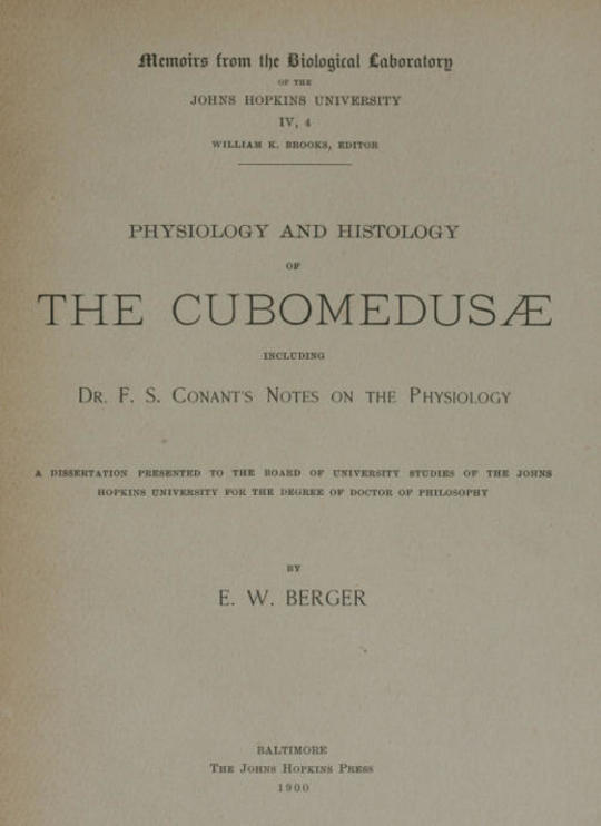 Physiology and histology of the Cubomedusæ including Dr. F.S. Conant's notes on the physiology