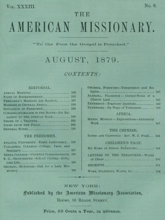 The American Missionary — Volume 33, No. 8, August, 1879