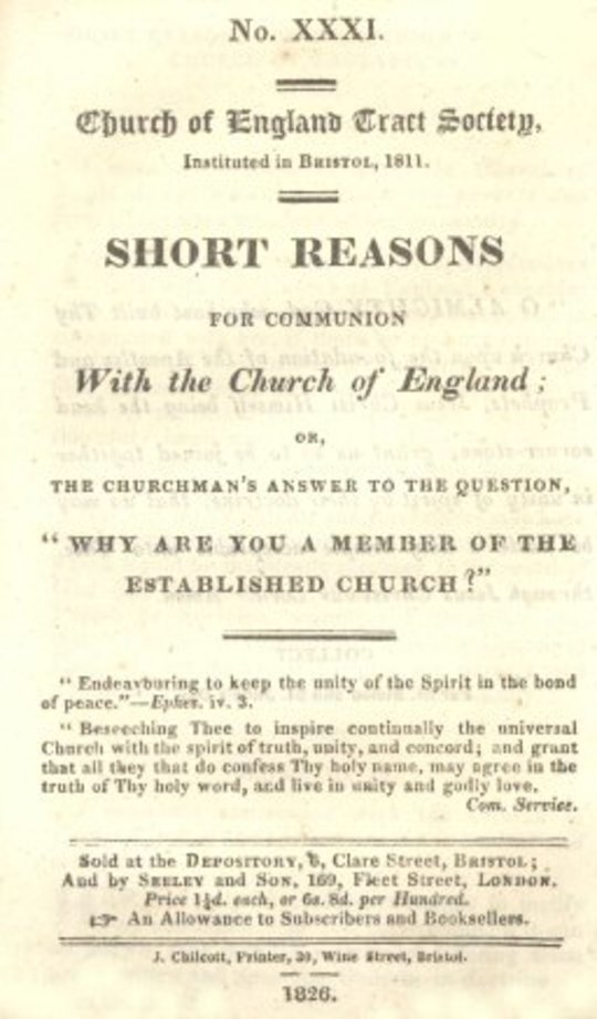 "Short Reasons for Communion with the Church of England or the Churchman's answer to the question, ""Why are you a Member of the Established Church?"""