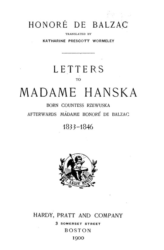 Letters to Madame Hanska 1833-1846