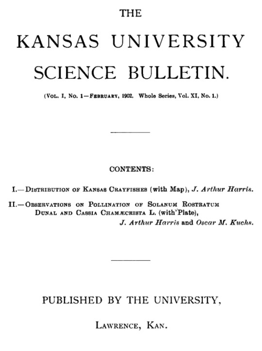 The Kansas University Science Bulletin (Vol. I, No. 1)