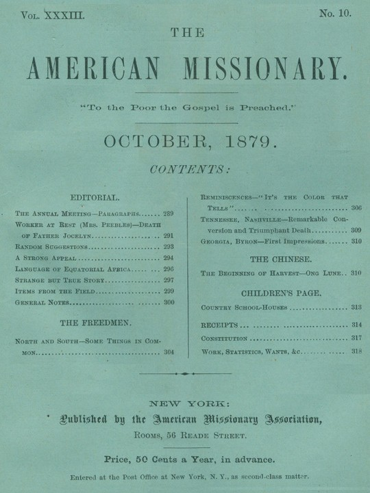 The American Missionary — Volume 33, No. 10, October, 1879