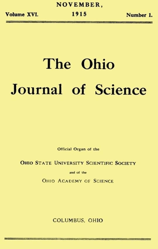 The Ohio Journal of Science, Vol. XVI, No. 1, November 1915