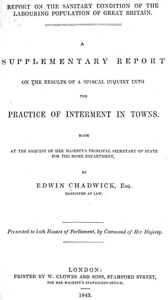 Report on the sanitary conditions of the labouring population of Great Britain. A supplementary report on the results of a special inquiry into the practice of interment in towns.