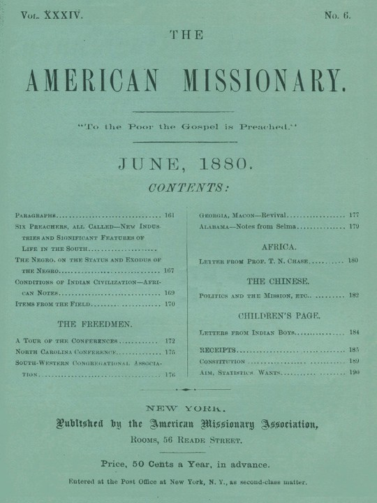 The American Missionary — Volume 34, No. 6, June, 1880