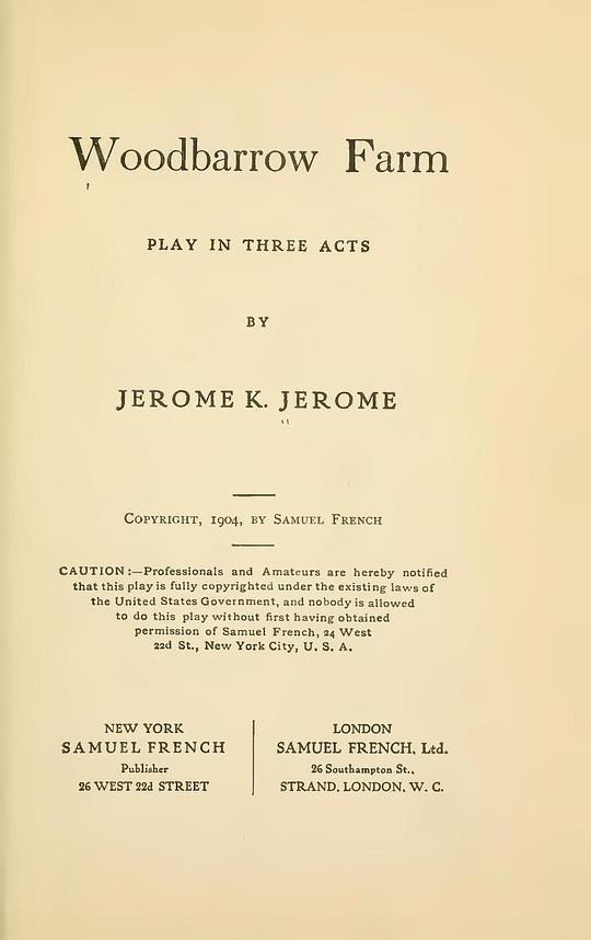 Woodbarrow Farm Play in Three Acts