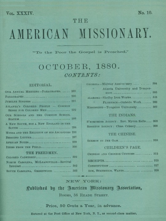 The American Missionary — Volume 34, No. 10, October, 1880