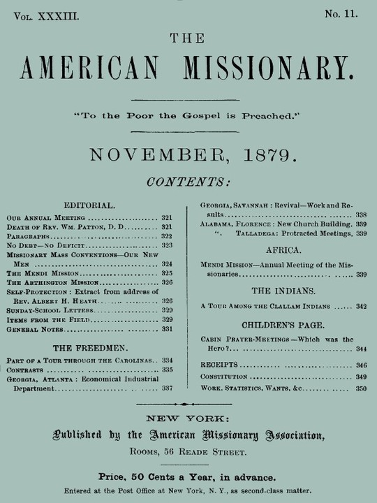 The American Missionary — Volume 33, No. 11, November, 1879
