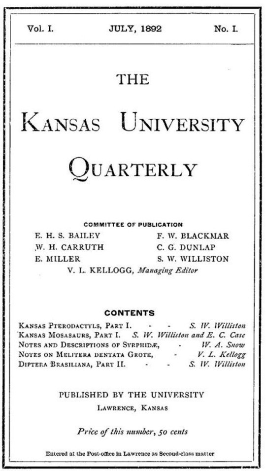 The Kansas University Quarterly, Vol. I, No. 1 (1892)