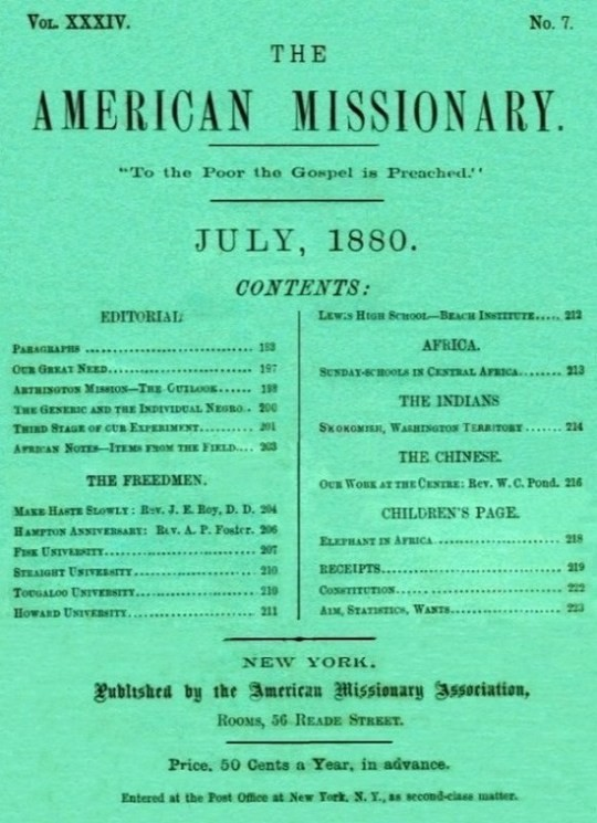 The American Missionary — Volume 34, No. 7, July, 1880