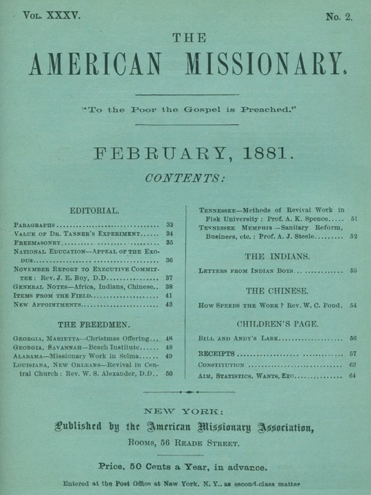 The American Missionary — Volume 35, No. 2, February, 1881