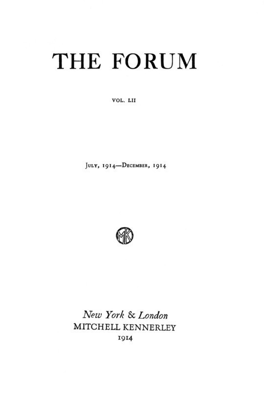 The Forum October 1914