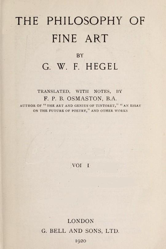 The Philosophy of Fine Art, volume 1 (of 4) Hegel's Aesthetik