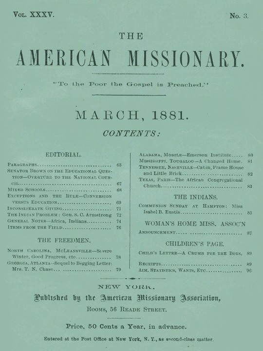 The American Missionary — Volume 35, No. 3, March 1881