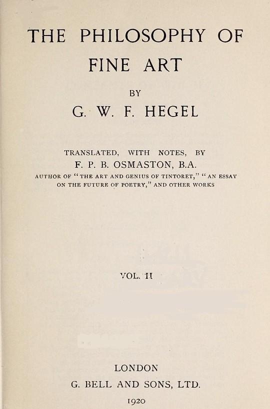 The Philosophy of Fine Art, volume 2 (of 4) Hegel's Aesthetik