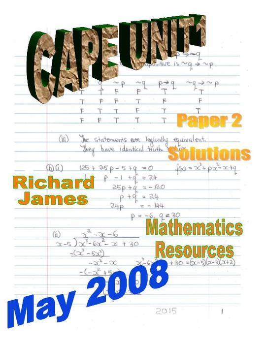 CAPE 1 Mathematics May 2008: Paper 2 Solutions