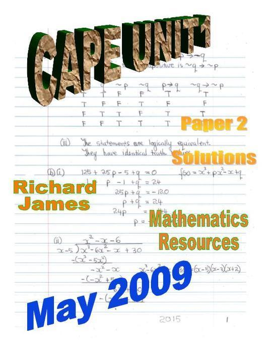 CAPE 1  Mathematics May 2009: Paper 2 Solutions
