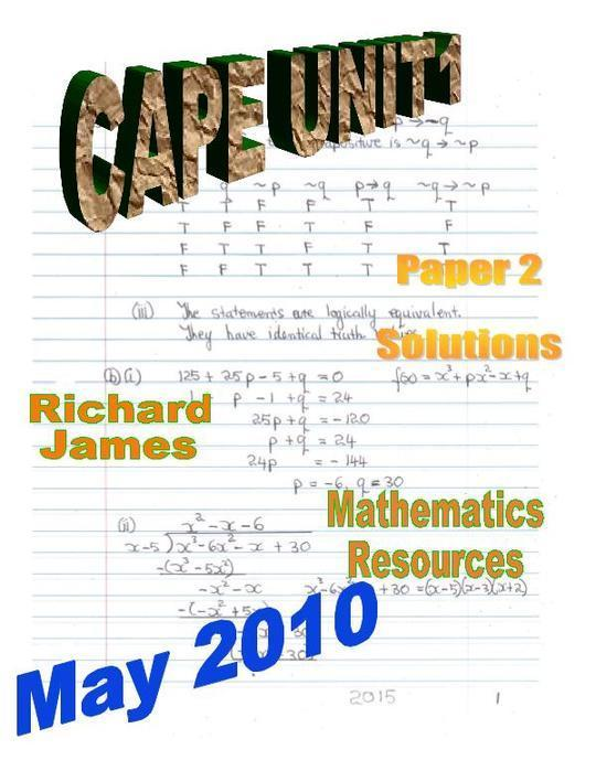 CAPE 1 Mathematics May 2010: Paper 2 Solutions