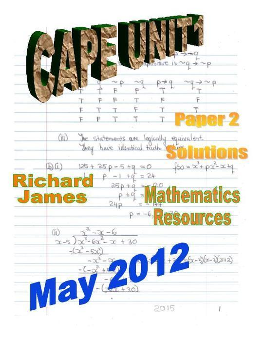 CAPE 1  Mathematics May 2012: Paper 2 Solutions