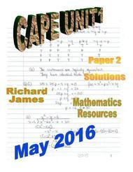 CAPE 1 Mathematics May 2016: Paper 2 Solutions
