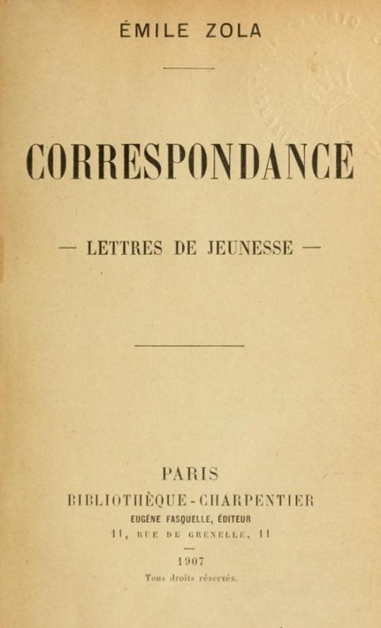 Correspondance Lettres de jeunesse