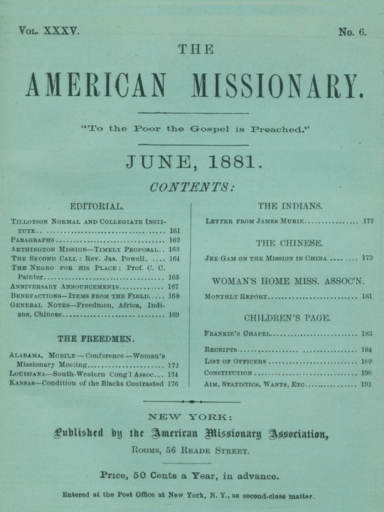 The American Missionary — Volume 35, No. 6, June, 1881
