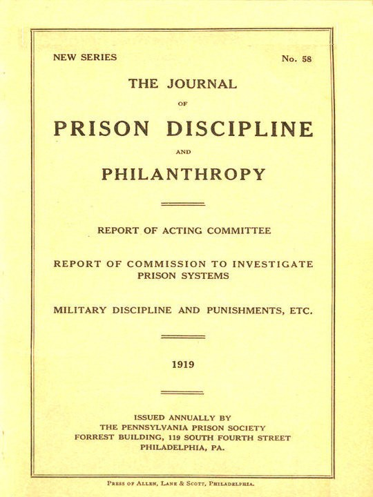 The Journal of Prison Discipline and Philanthropy 1919 (New Series, No. 58)