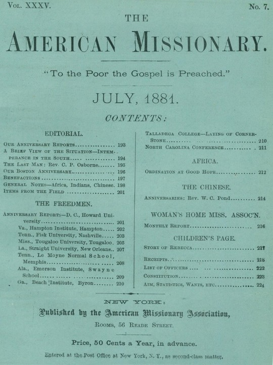 The American Missionary — Volume 35, No. 7, July, 1881