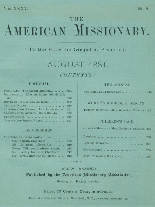 The American Missionary — Volume 35, No. 8, August, 1881