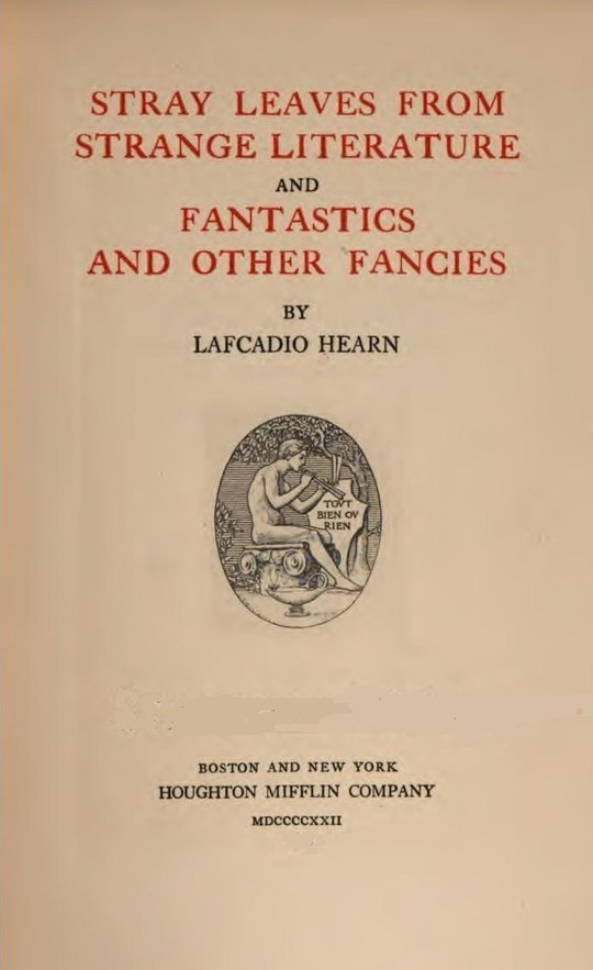 Stray Leaves from Strange Literature - Fantastics and other Fancies