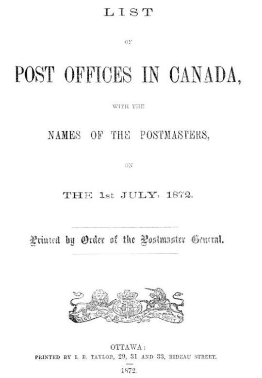 List of Post Offices in Canada 1872