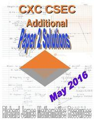 CXC CSEC Additional Mathematics  Paper 2 Solutions May 2016