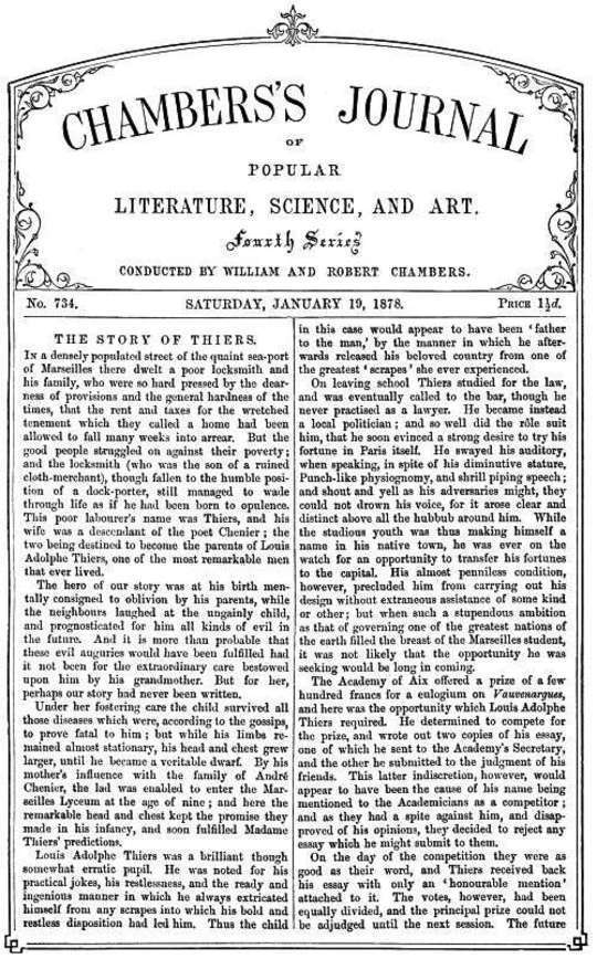 Chambers's Journal of Popular Literature, Science, and Art, No. 734, January 19, 1878